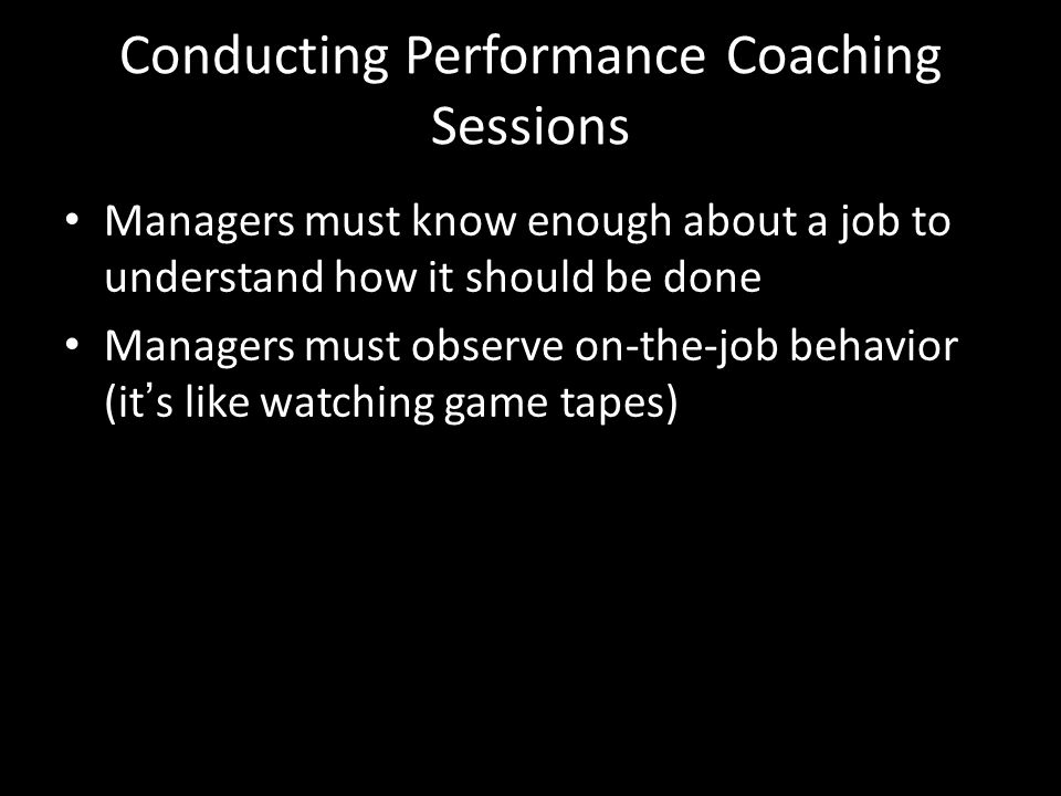 Conducting Performance Coaching Sessions