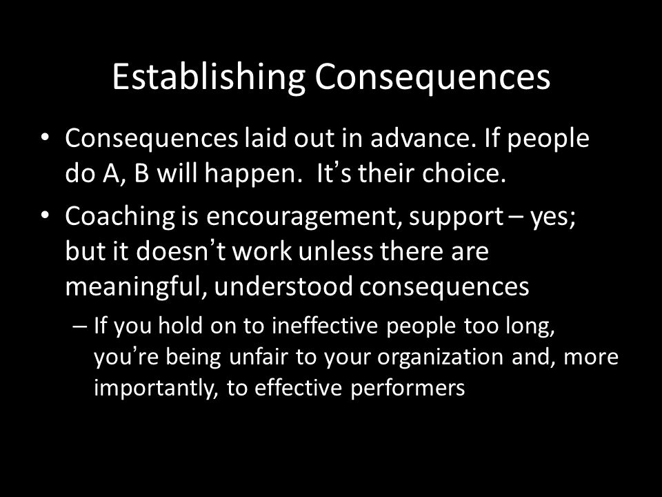 Establishing Consequences