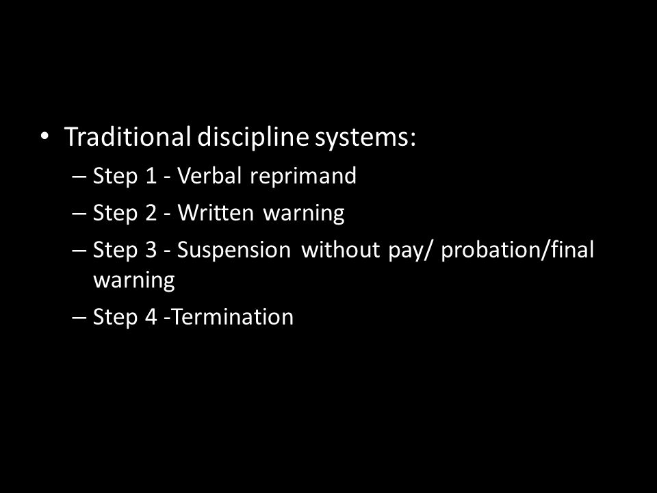 Traditional discipline systems: