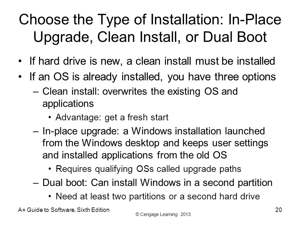 Choose the Type of Installation: In-Place Upgrade, Clean Install, or Dual Boot