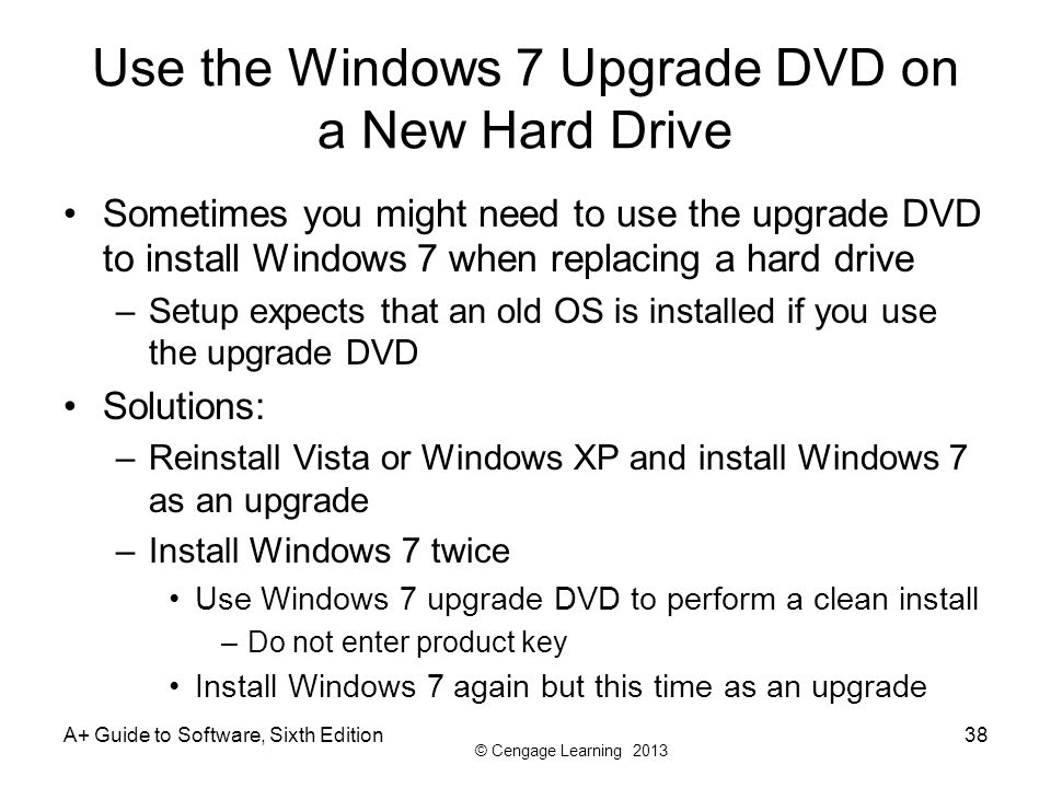 Use the Windows 7 Upgrade DVD on a New Hard Drive