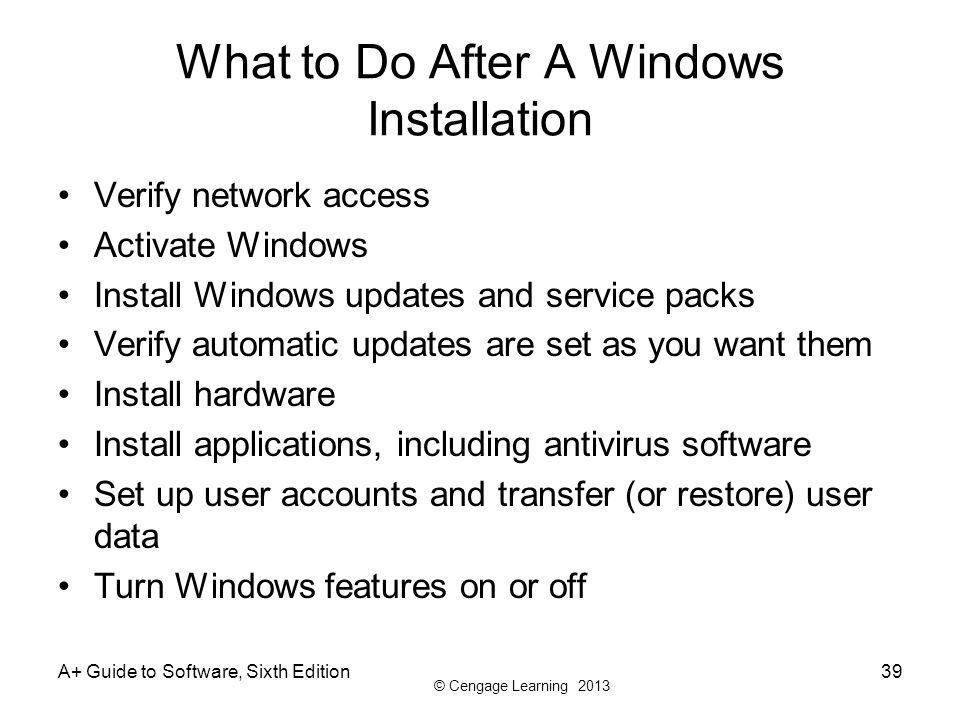 What to Do After A Windows Installation