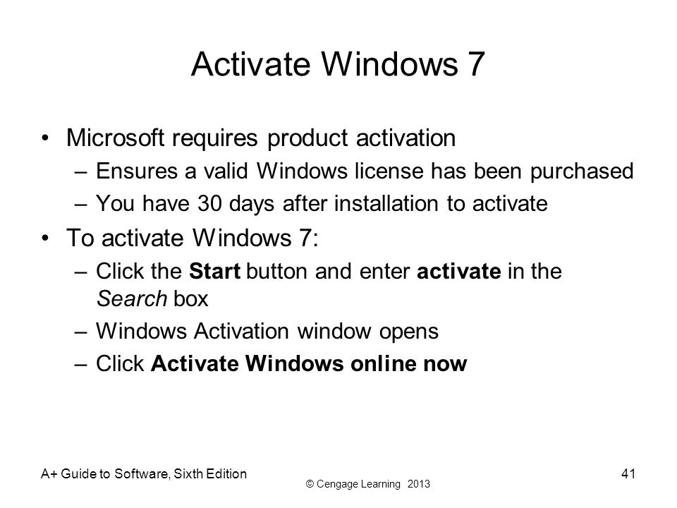 Activate Windows 7 Microsoft requires product activation