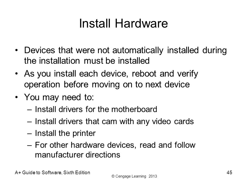 Install Hardware Devices that were not automatically installed during the installation must be installed.
