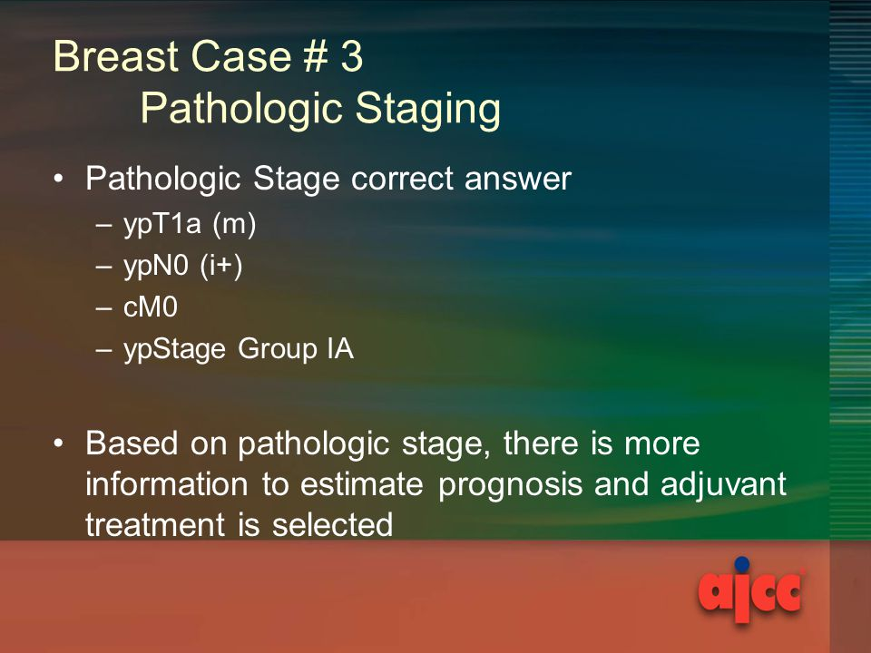Breast Case # 3 Pathologic Staging