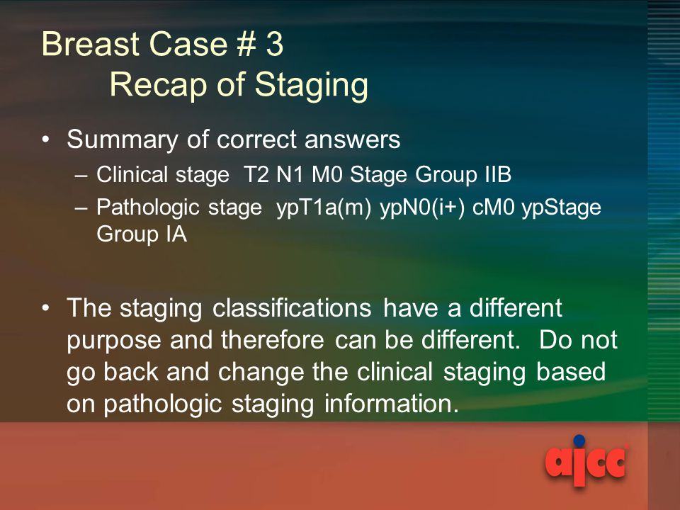 Breast Case # 3 Recap of Staging