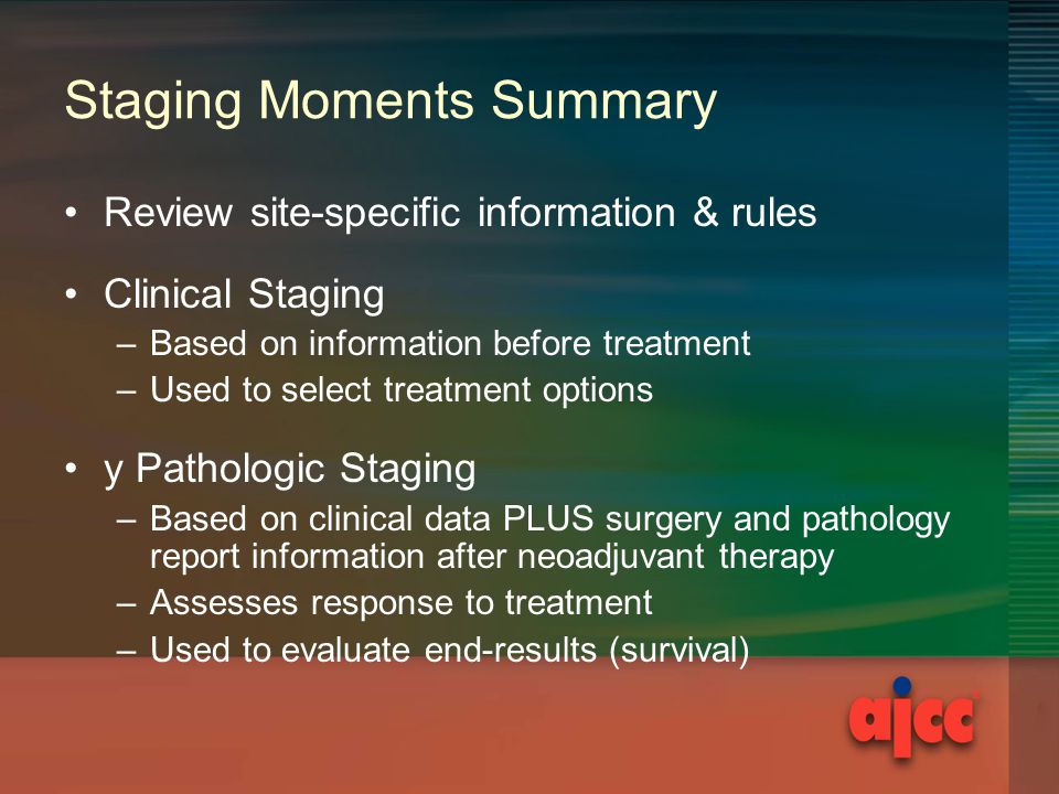 Staging Moments Summary