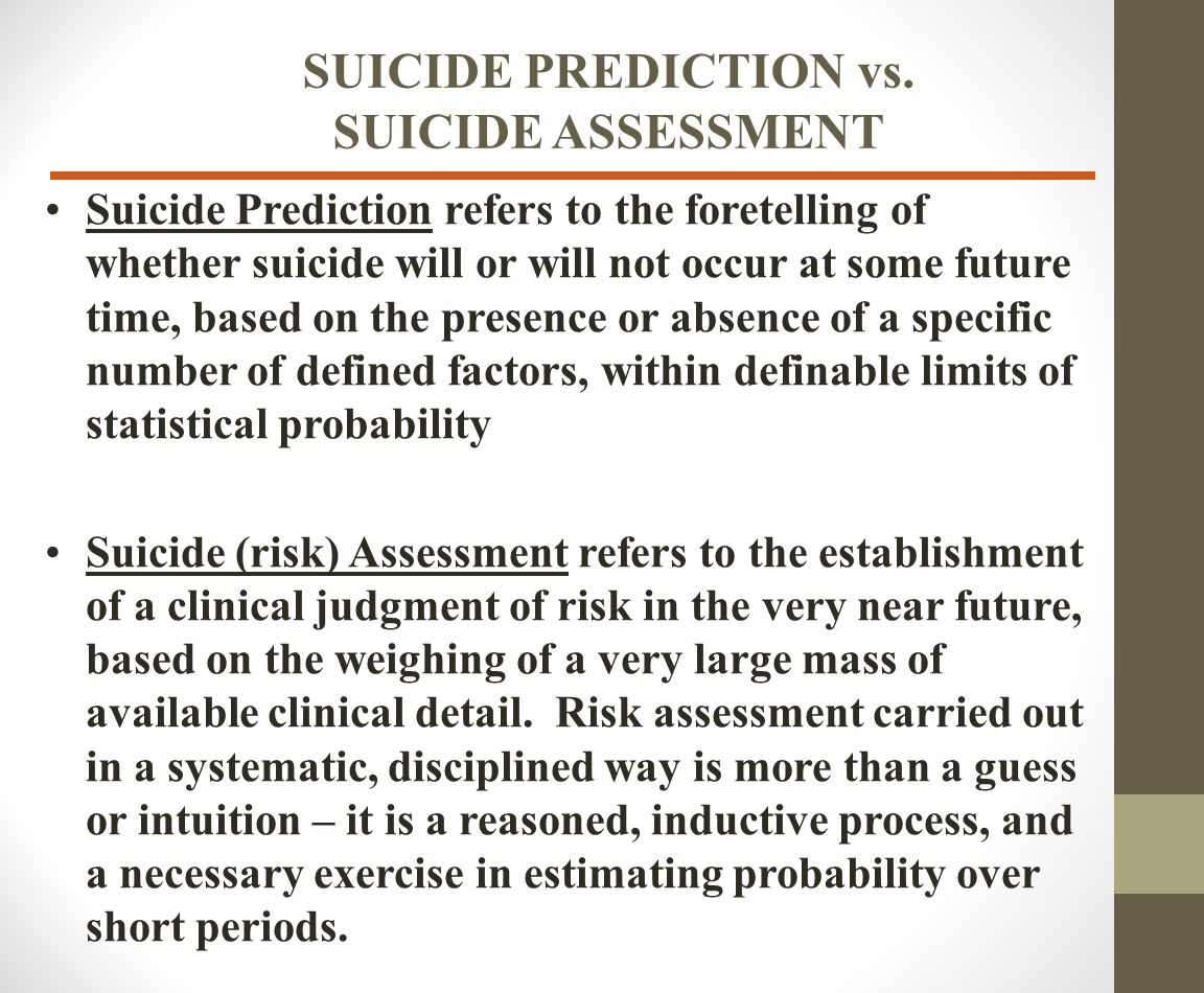 estimating factors of suicide in the Mental health professionals provides protocols for conducting a comprehensive suicide assessment, estimating suicide risk, identifying protective factors.