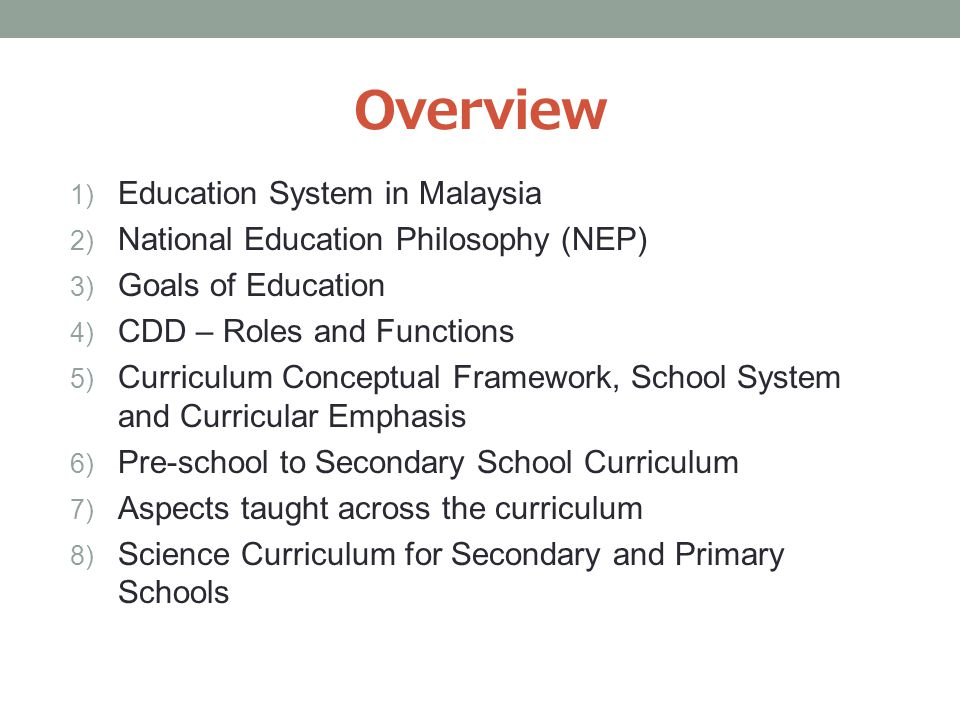Education System In Malaysia The School Curriculum