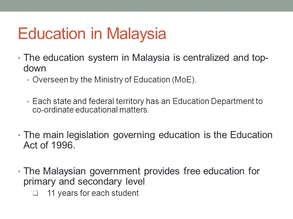 education system in malaysia Malaysia is one of asia's top education destinations the malaysian government  provides free education on primary and secondary level, suming up to an.