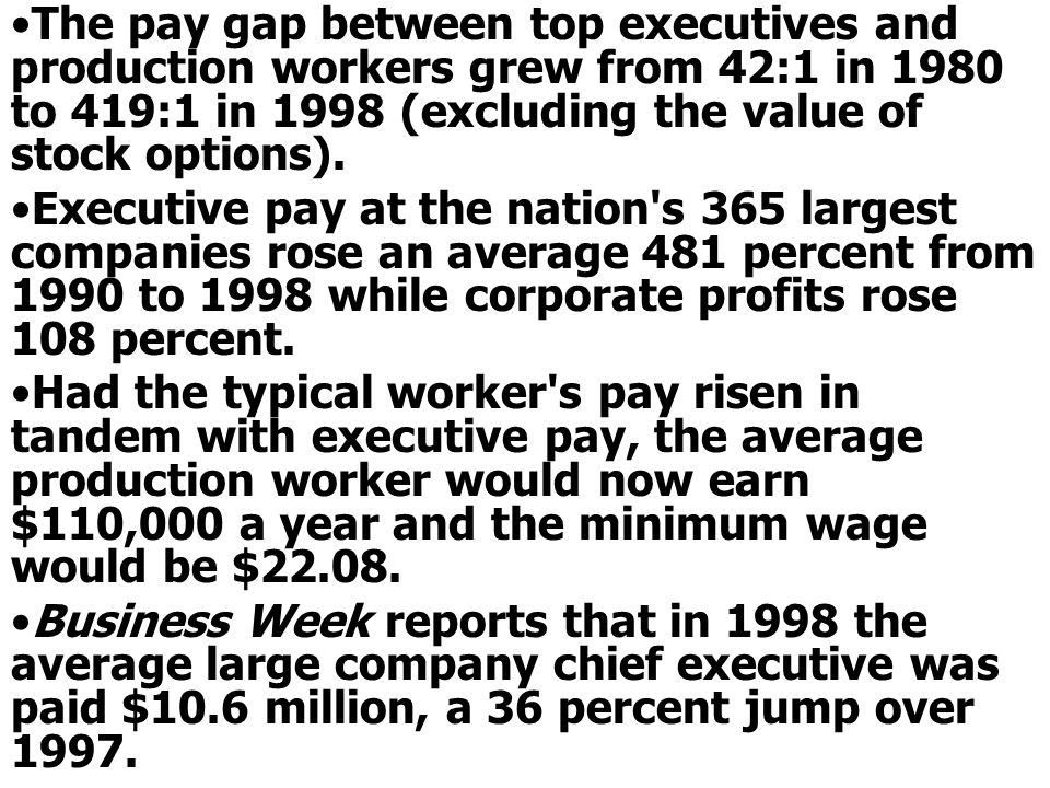 The pay gap between top executives and production workers grew from 42:1 in 1980 to 419:1 in 1998 (excluding the value of stock options).