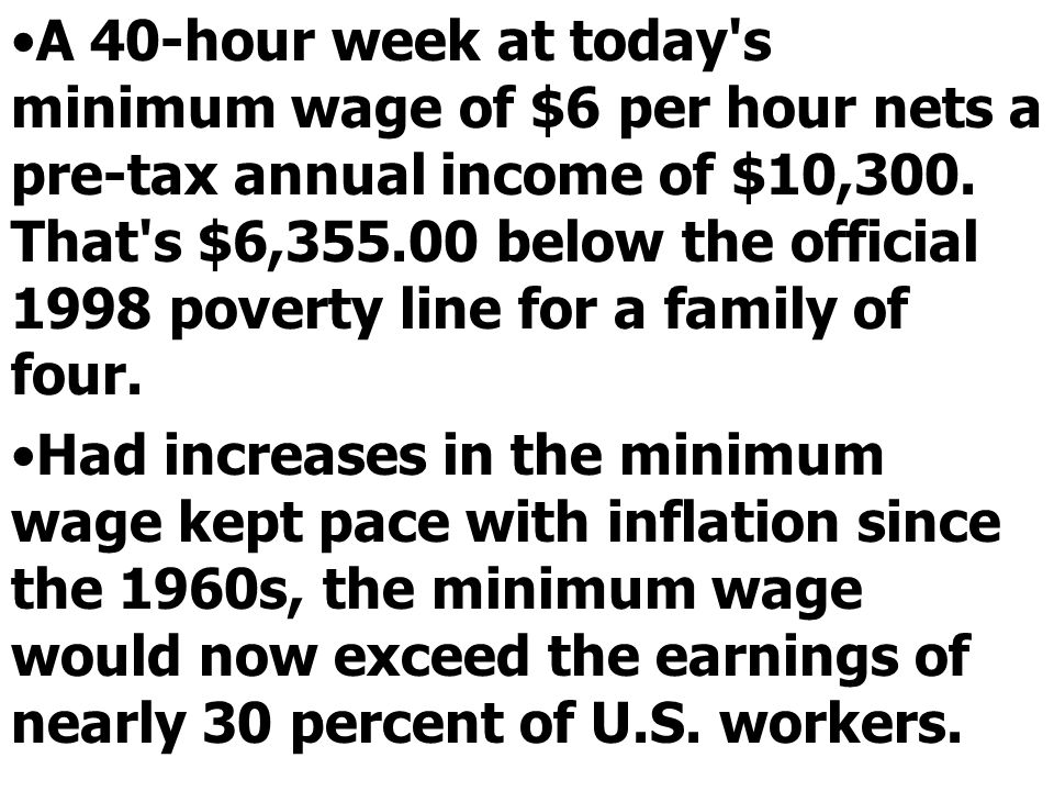 A 40-hour week at today s minimum wage of $6 per hour nets a pre-tax annual income of $10,300. That s $6,355.00 below the official 1998 poverty line for a family of four.