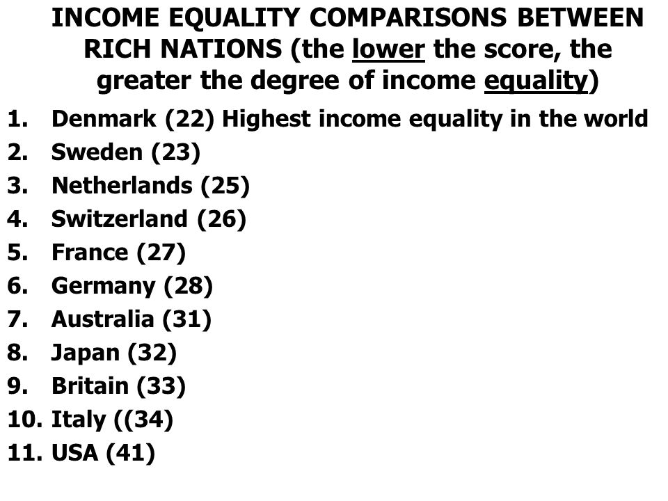 INCOME EQUALITY COMPARISONS BETWEEN RICH NATIONS (the lower the score, the greater the degree of income equality)