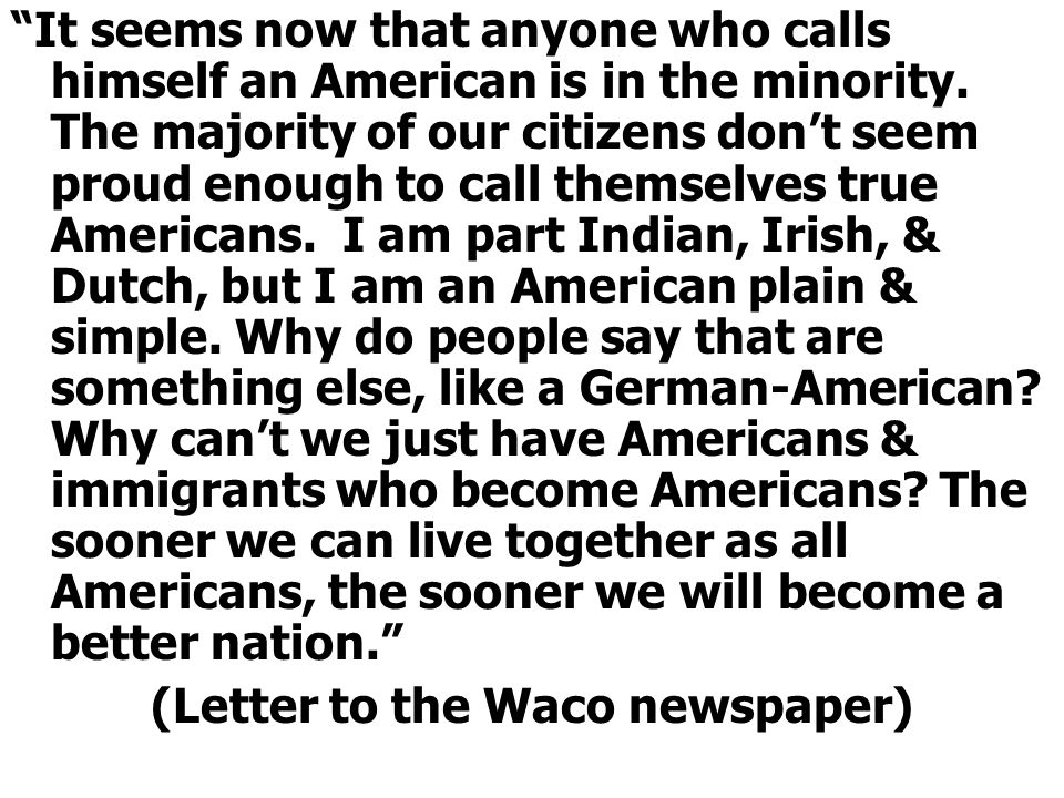 (Letter to the Waco newspaper)