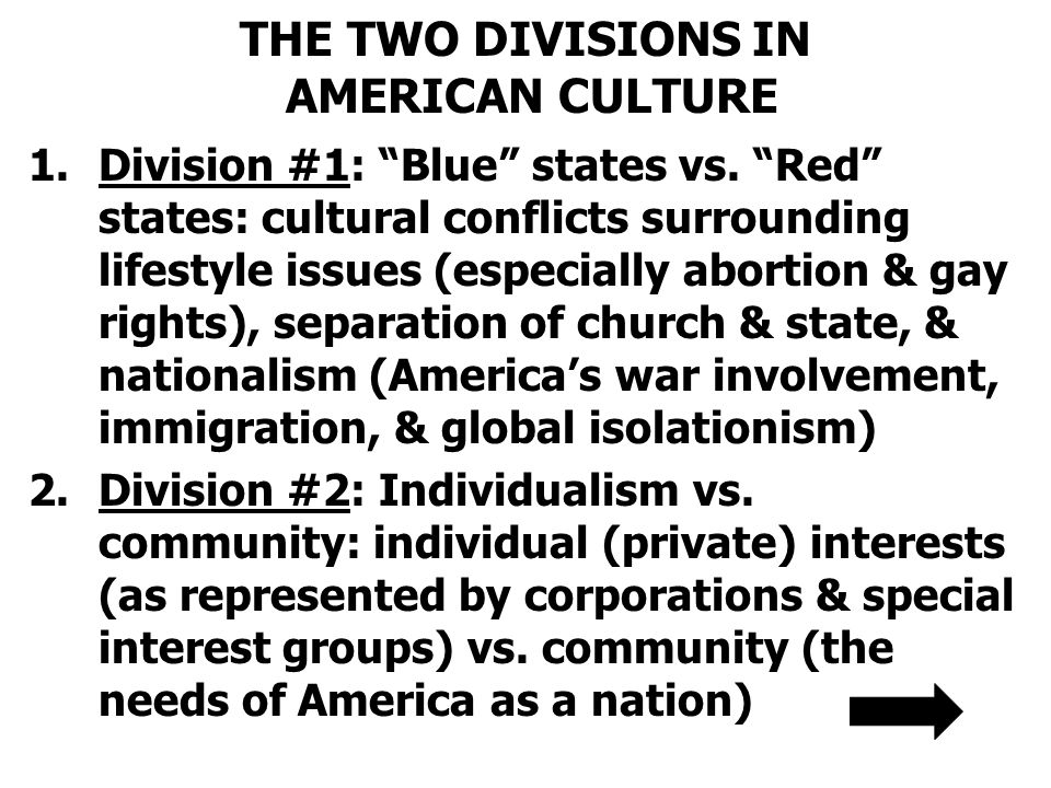 THE TWO DIVISIONS IN AMERICAN CULTURE