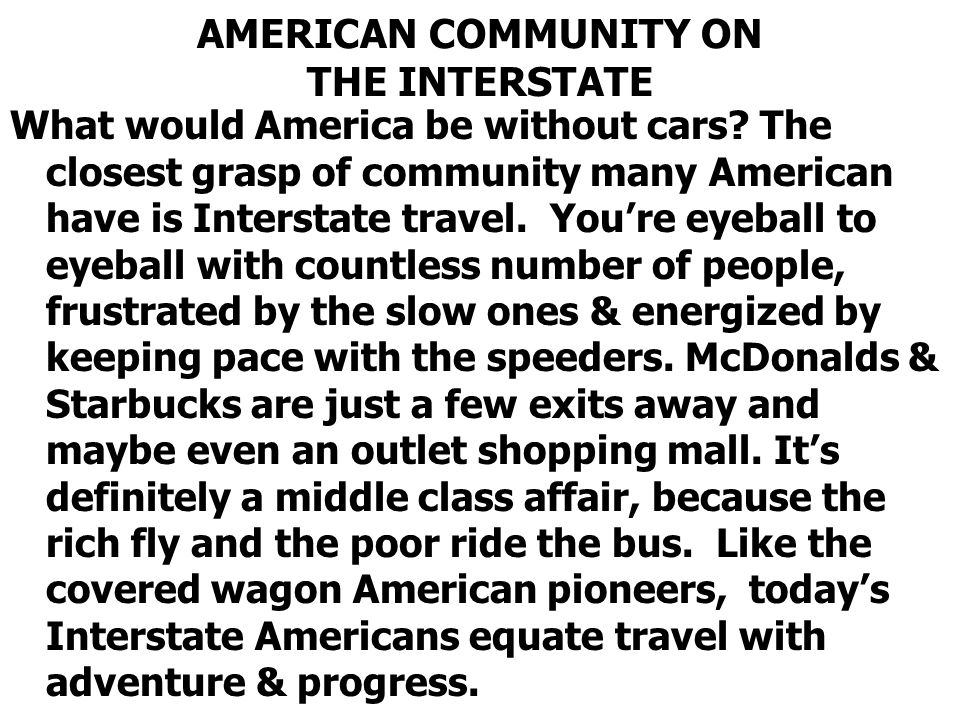AMERICAN COMMUNITY ON THE INTERSTATE