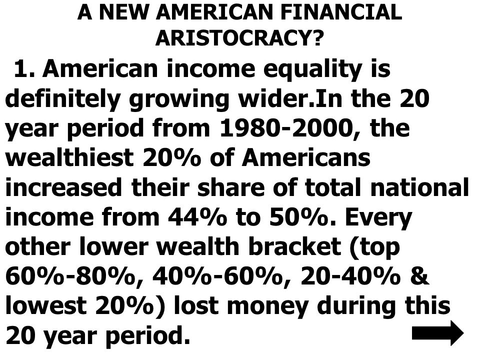 A NEW AMERICAN FINANCIAL ARISTOCRACY