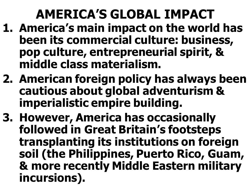 AMERICA'S GLOBAL IMPACT