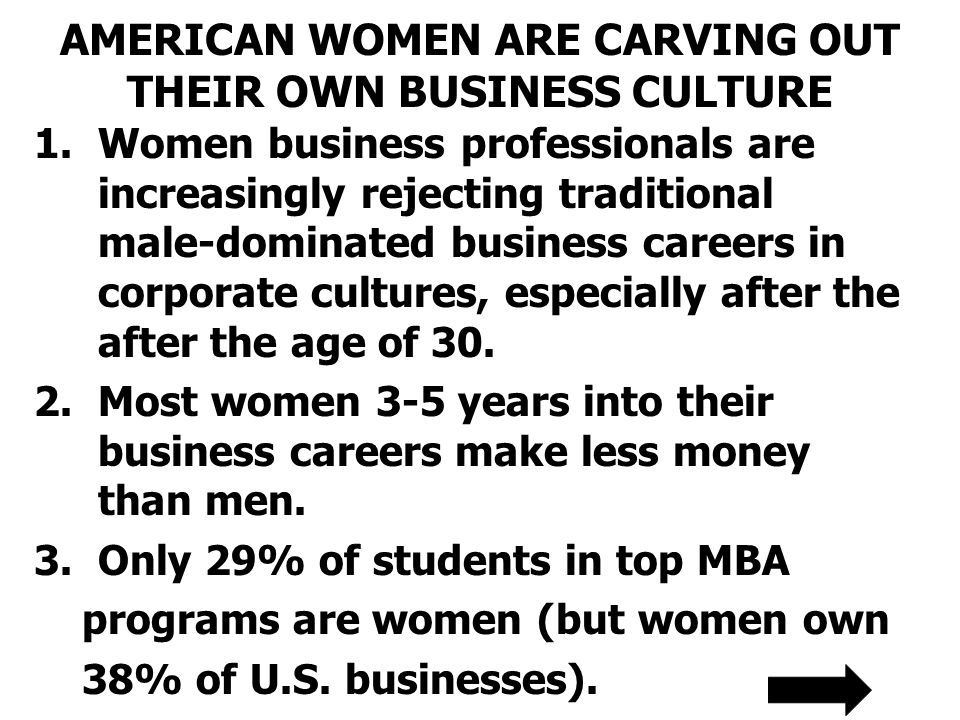 AMERICAN WOMEN ARE CARVING OUT THEIR OWN BUSINESS CULTURE