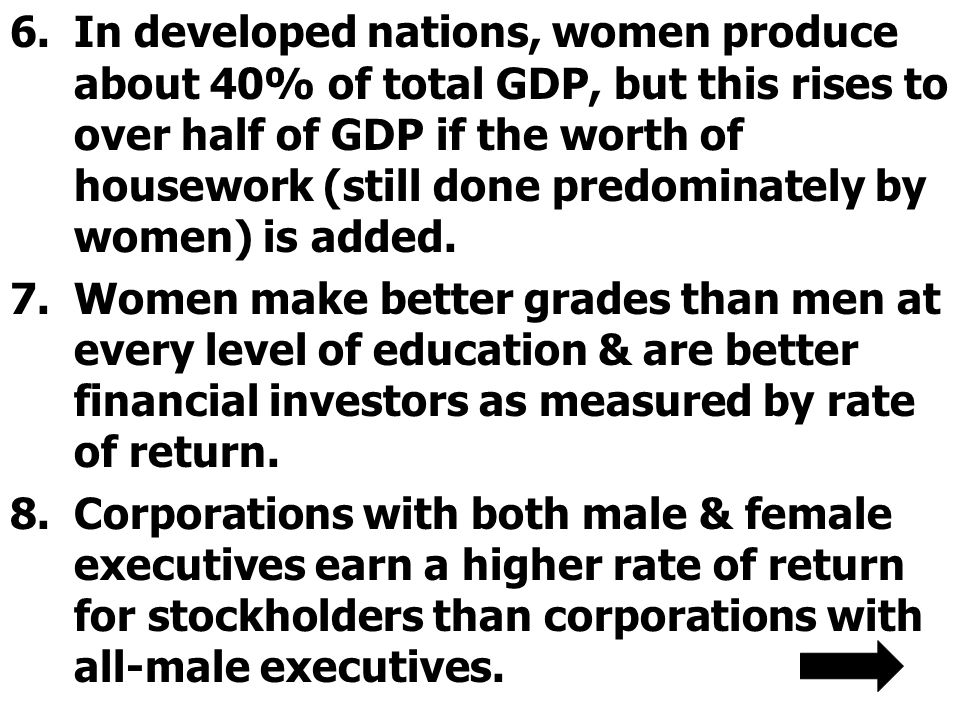 In developed nations, women produce about 40% of total GDP, but this rises to over half of GDP if the worth of housework (still done predominately by women) is added.