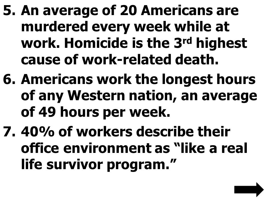An average of 20 Americans are murdered every week while at work