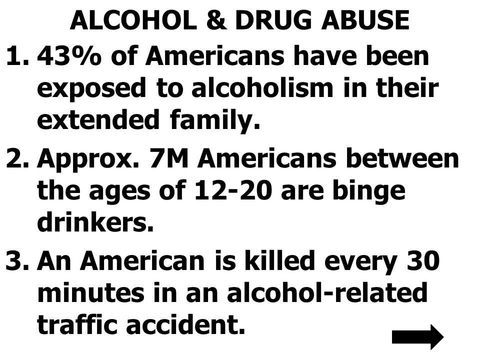 ALCOHOL & DRUG ABUSE 43% of Americans have been exposed to alcoholism in their extended family.
