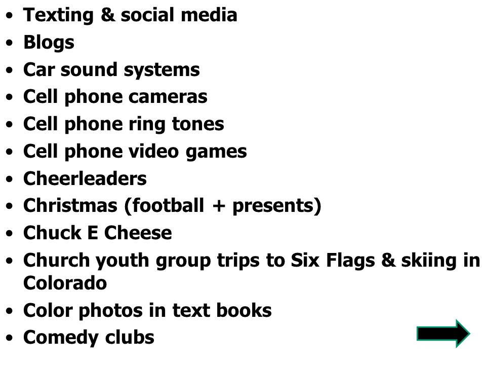 Texting & social media Blogs. Car sound systems. Cell phone cameras. Cell phone ring tones. Cell phone video games.