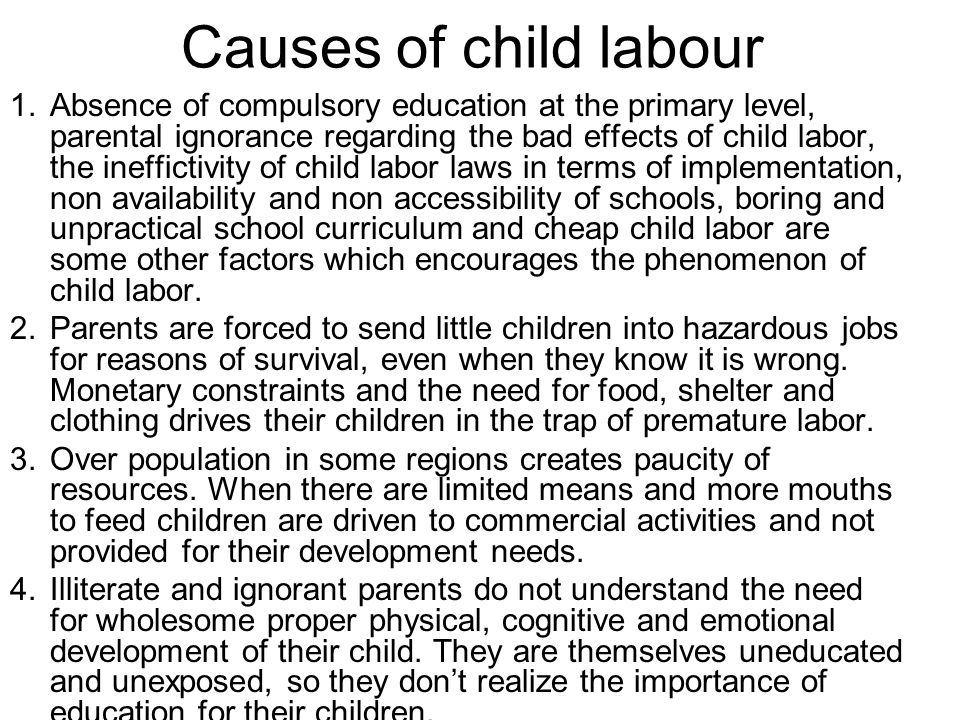 the impacts of child labor Module 4: child labor and child abuse in developing countries (fgm), the worst forms of child labour and the impact of armed conflict.