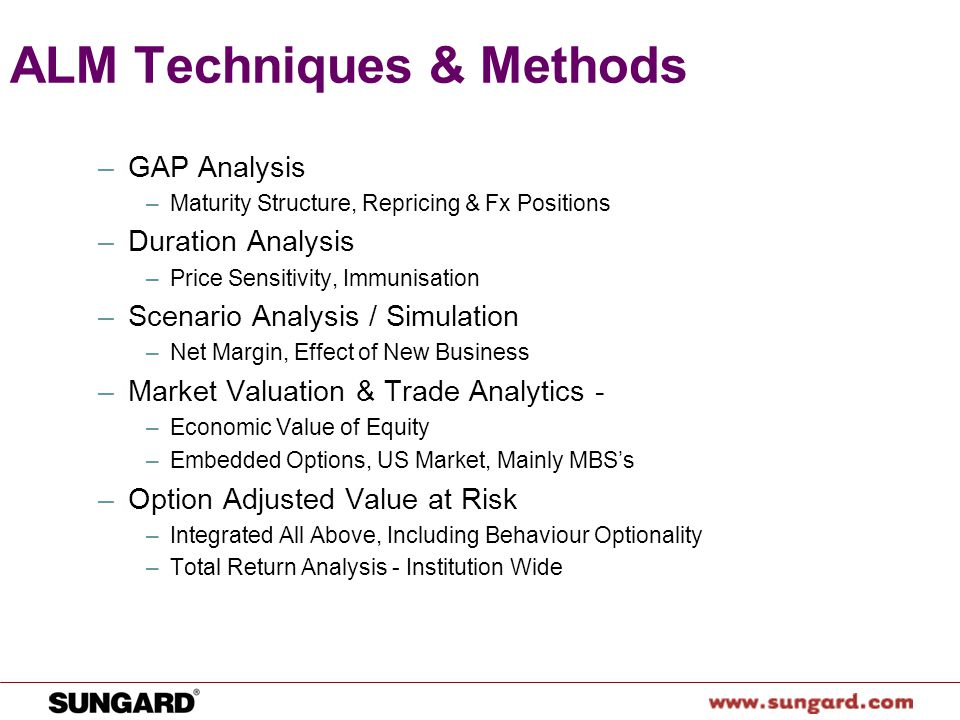 alm gap analysis Practices and emerging trends in asset liability  static gap: the alm function takes into  practices and emerging trends in asset liability management and.