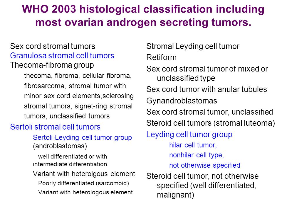 Treatment of sex cord stromal tumours