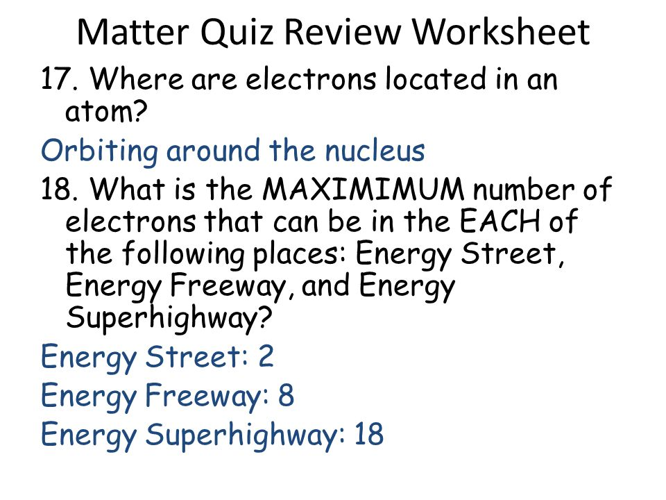 matter and energy worksheet pdf