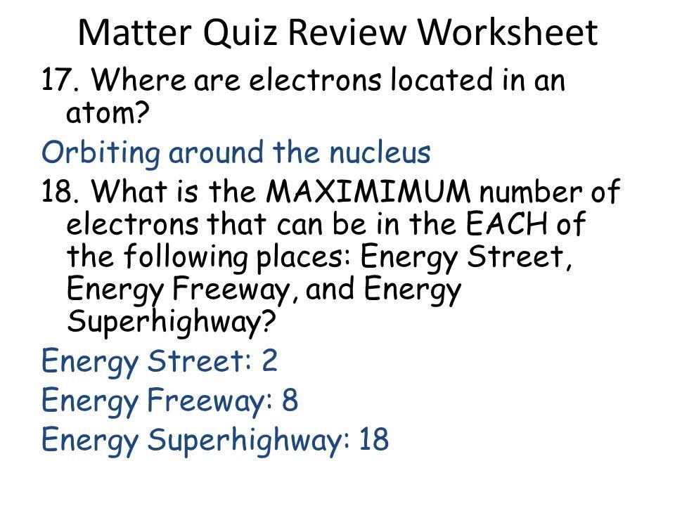 matter and energy worksheet pdf