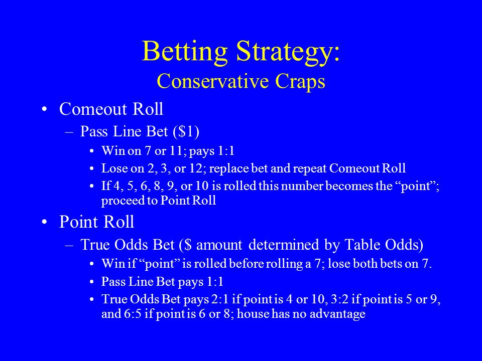 Craps odds by bet
