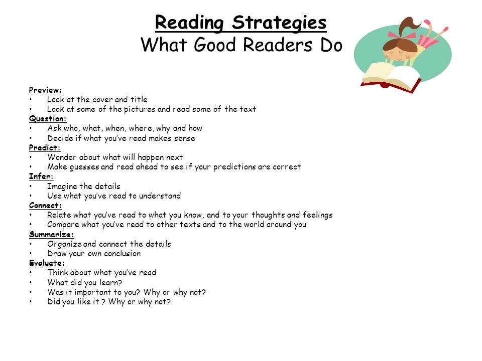 Reading Strategies What Good Readers Do