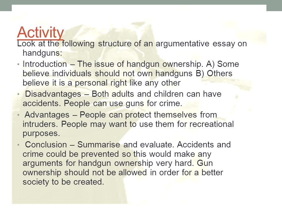 argumentative essay activity Discover an essay writing lesson that works great for english language the writing recipe: essay structure for ells examining elements of persuasive speeches.