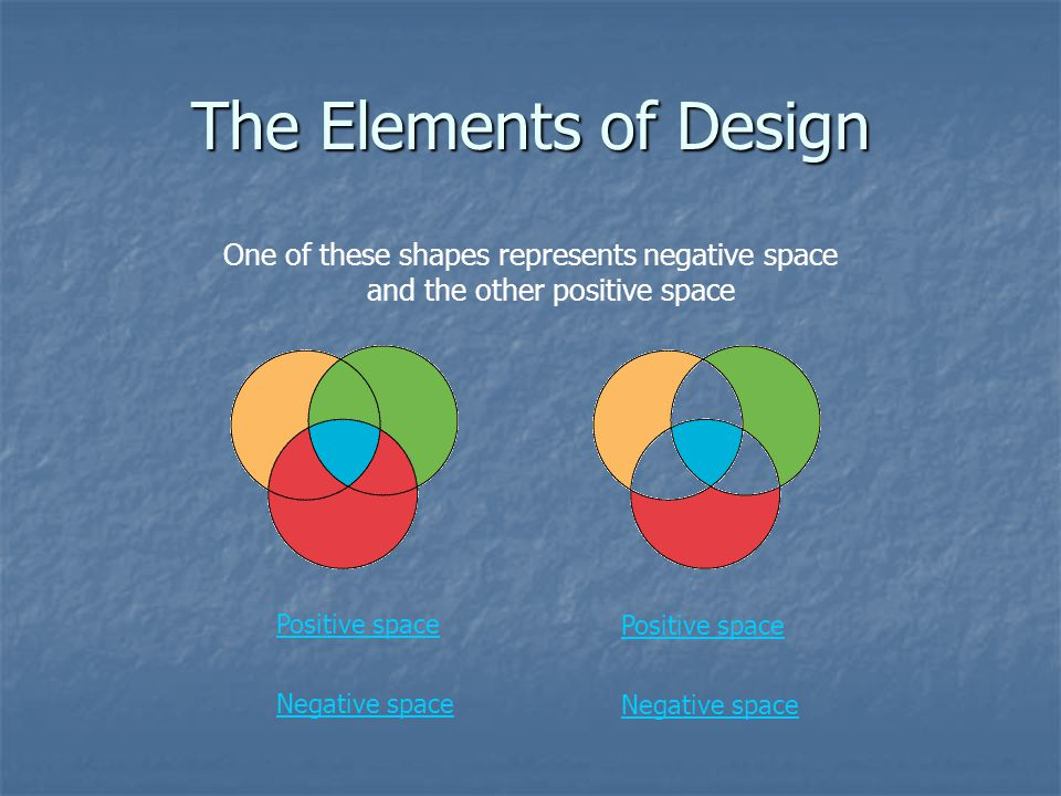 The Elements of Design One of these shapes represents negative space and the other positive space. Positive space.