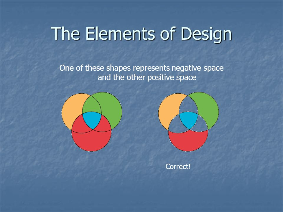 The Elements of Design One of these shapes represents negative space and the other positive space.