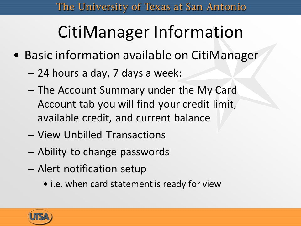 CitiManager Information