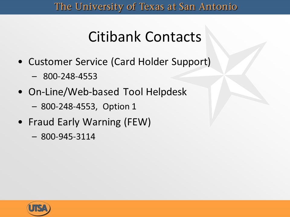Citibank Contacts Customer Service (Card Holder Support)