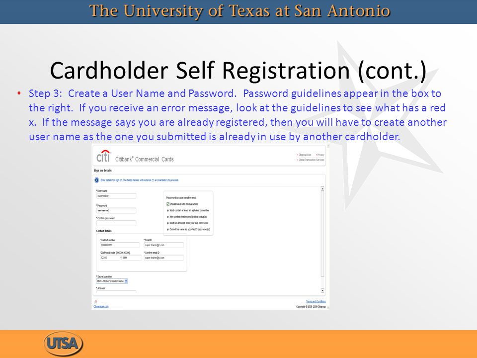 Cardholder Self Registration (cont.)