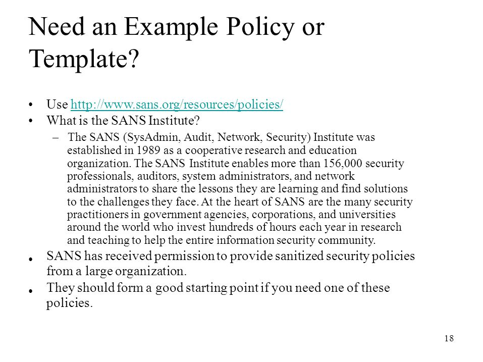 sans security policy templates - cs 397 computer security and information assurance ppt