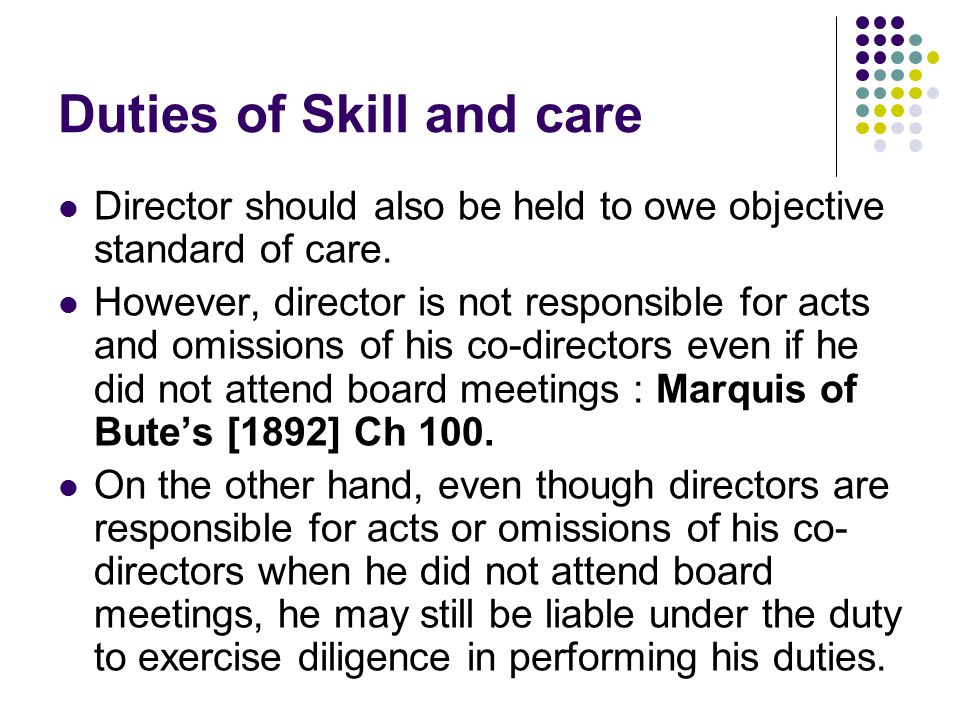 Directors duty of care