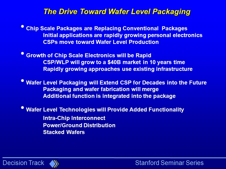 The Drive Toward Wafer Level Packaging