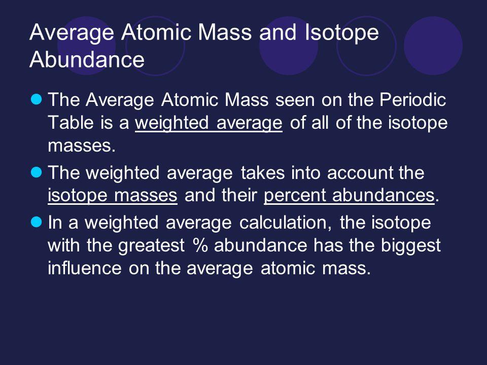average atomic mass and isotope abundance - Periodic Table With Atomic Mass And Isotopes