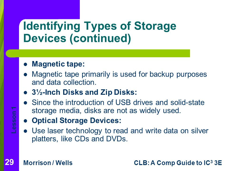 types of storage devices information technology essay Ict stands for information communications technology  for example, personal computers, digital television,  specialised cad programs exist for many types of.