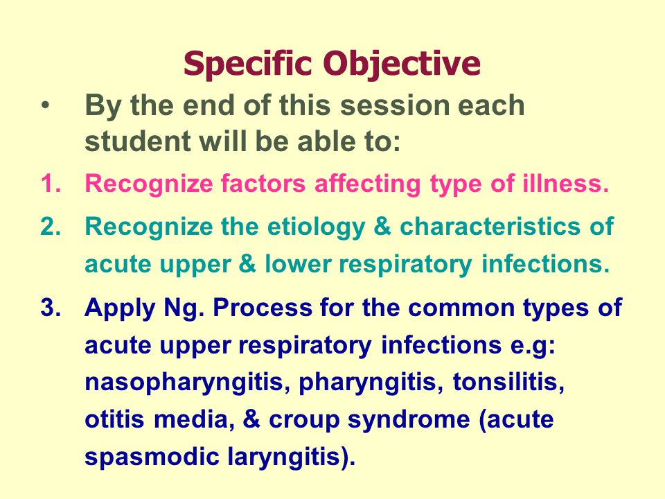 Specific Objective By the end of this session each student will be able to: Recognize