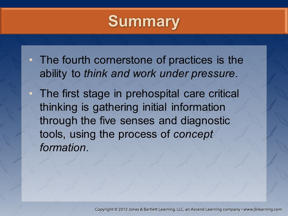 """critical thinking process for paramedics Pt assess clinical decision making 1 clinical decision making 2 topics paramedics as practitioners life-threatening conditions protocols, standing orders, algorithms critical thinking process """"six r's"""" of putting it all together."""