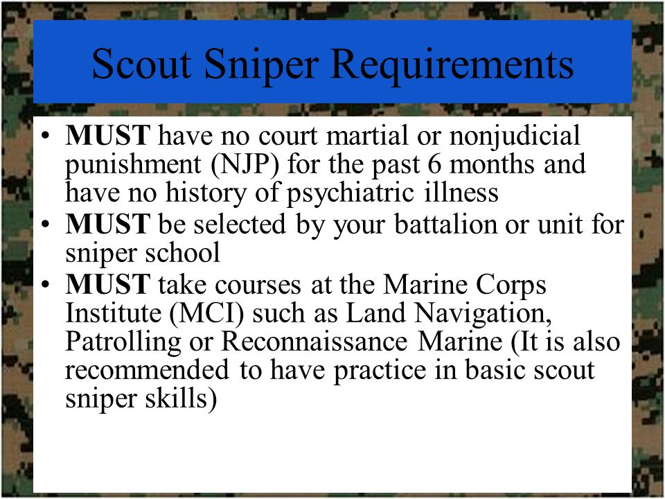 Scout snipers in the usmc ppt video online download 13 scout sniper requirements sciox Image collections