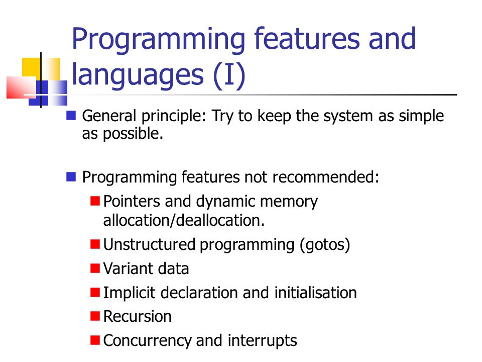 Programming features and languages (I)