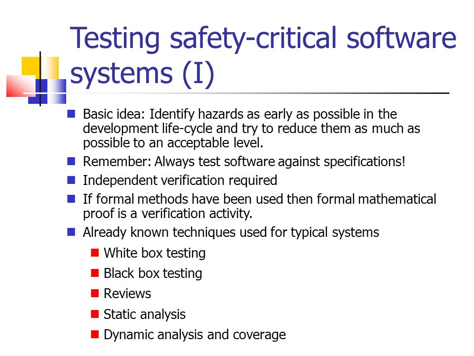 Testing safety-critical software systems (I)